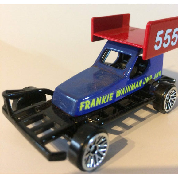 555 Frankie Wainman Jnr Jnr - Die Cast Model Stock Car. The son of FWJ, a young Brisca F1 racing driver rising from the national ministox. He races on raceways all over the UK and has raced in New Zealand. This picture shows a 1/62 scale Model Toy of his current Stock Car, replicating his real stock car as seen on the race track.
