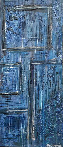BEYOND THE THRESHOLD-modern abstract painting,eco-friendly,blue hues