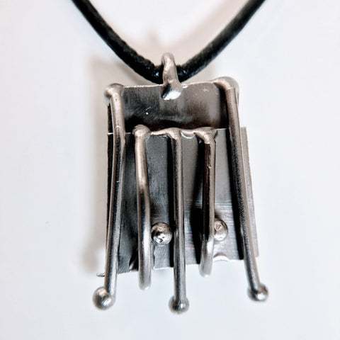BRIDGES-Contemporary Abstract Silver-Metal Pendant Necklace-Stainless Steel-Men-Women-Unisex