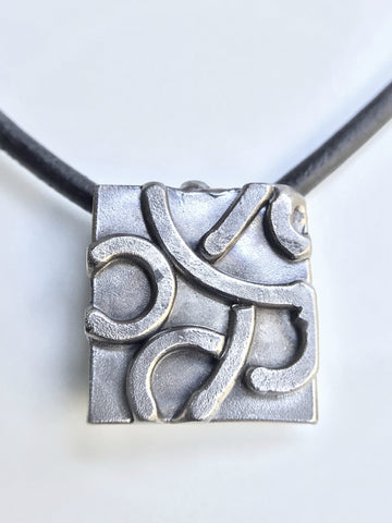 SUNSCAPE contemporary modern-abstract men-women pendant necklace-silver tone geometric geo-organic stainless steel