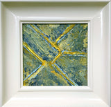 Farmland, small abstract expression painting-frame under $200