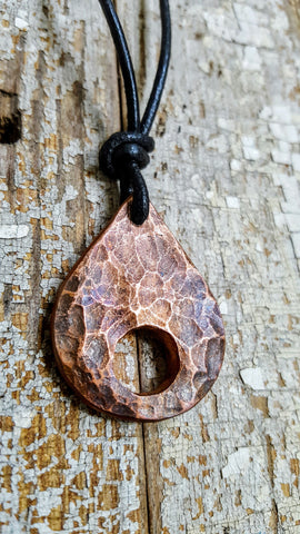 H2O-WATER DROP, large hammered copper pendant necklace-heat tempered patina
