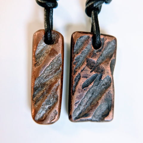 Couples-His-Hers Trail Running-Trail Blazer chiseled copper pendant necklaces for training-workout-cross-training friends