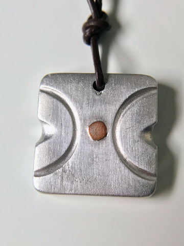 MY CENTER yoga abstract, petite size pendant necklace, hand-chiseled