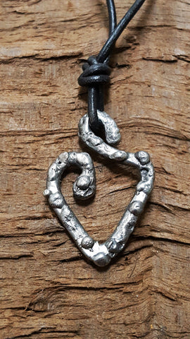 Revival, stainless steel rustic-antique heart pendant necklace, brushed silver finish