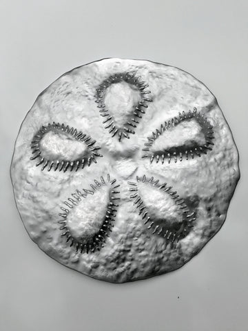 SAND DOLLAR sea urchin beach-coastal sculpture wall art, brush aluminum metal finish
