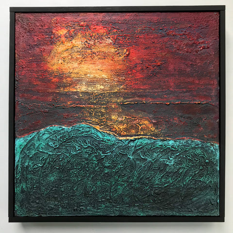 SUNSET SURF-original contemporary abstract acrylic painting, red, yellow, orange, cyan hues