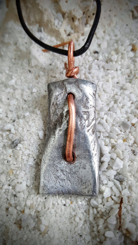 SPINAL THRUST men's hand-forged extreme athlete pendant necklace, forged light-weight aluminum with copper accent