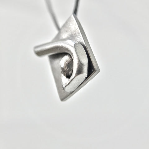 Squarevature-Contemporary Abstract Geo-Organic Silver tone-Metal Pendant Necklace-Stainless Steel-Men-Women-Unisex