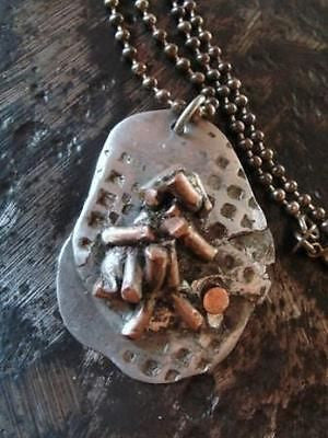 Urban Artist Dogtags-pendant necklace-aluminum and copper w/sterling chain