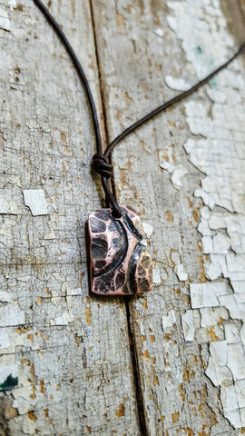 Taking Flight-Small, Petite Spiritual Women's Abstract Copper Pendant Necklace