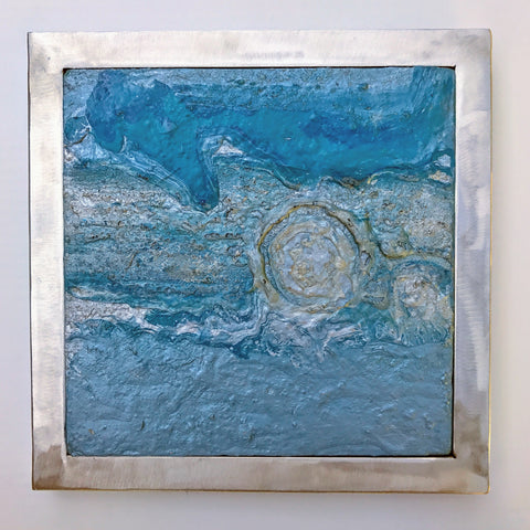 TIDAL ENERGY-abstract contemporary acrylic painting,blue-purple-silver hues with brushed metal frame