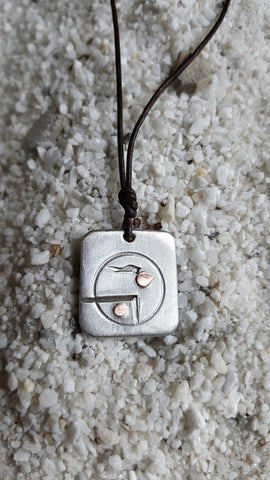 UNITED abstract, marital pendant necklace, petite-size, hand-chiseled