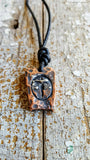 Warrior's Shield-Man Code, men's heat-forged copper pendant necklace
