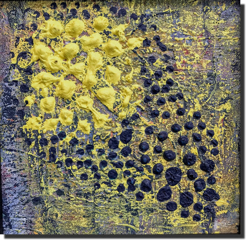 Midnight Star, small abstract expression painting-frame under $200, blue-yellow