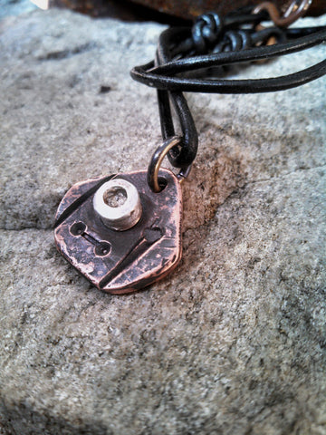 Eco-Abstract Recycled Copper EcoArt Pendant Necklace-PASSAGE