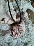 "ABSTRACT-RUSTIC COPPER PENDANT NECKLACE ""MOONLIT BEACH"" ECO-FRIENDLY PENDANT NECKLACE."