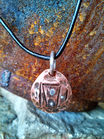 Small EcoArt Spiritual Recycled Copper Pendant Necklace-Past-Present-Future