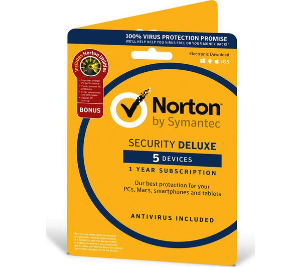 Norton Security Deluxe 2020 (5 Devices/1 Year) Internet Antivirus PC/Mac Licence