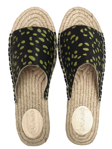 Green Spots Leather Espadrilles
