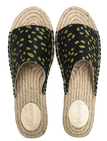 Load image into Gallery viewer, Green Spots Leather Espadrilles