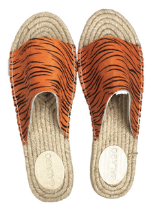 Orange Tiger Leather Espadrilles