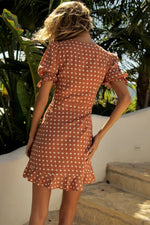 Load image into Gallery viewer, Emilia Mini Dress - Rust Spot