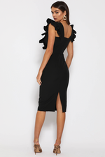 Load image into Gallery viewer, Frill Plunge Midi Dress - Black