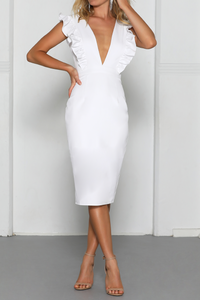 Frill Plunge Midi Dress - White