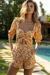 Zully Playsuit - Cream Floral