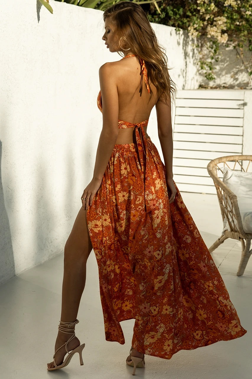 Holly Maxi Skirt - Rust Floral