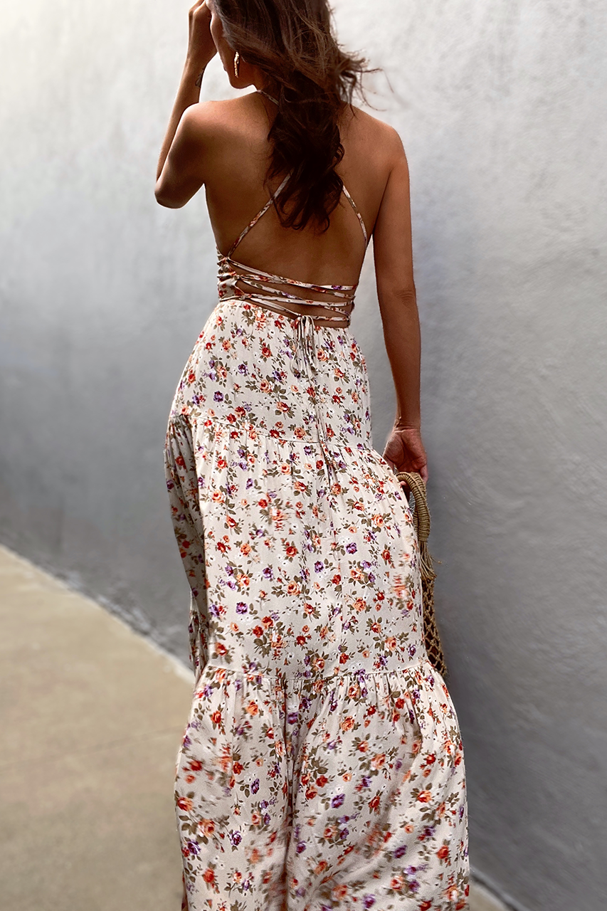 Posy Maxi Dress - Beige Floral