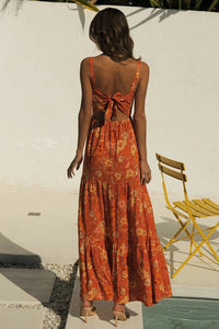 Holly Maxi Dress - Rust Floral