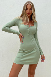 Henley Dress - Pistachio