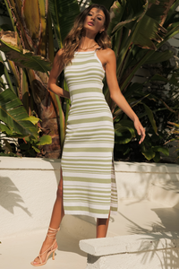 Cove Midi Dress - Sage/White