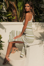 Load image into Gallery viewer, Cove Midi Dress - Sage/White