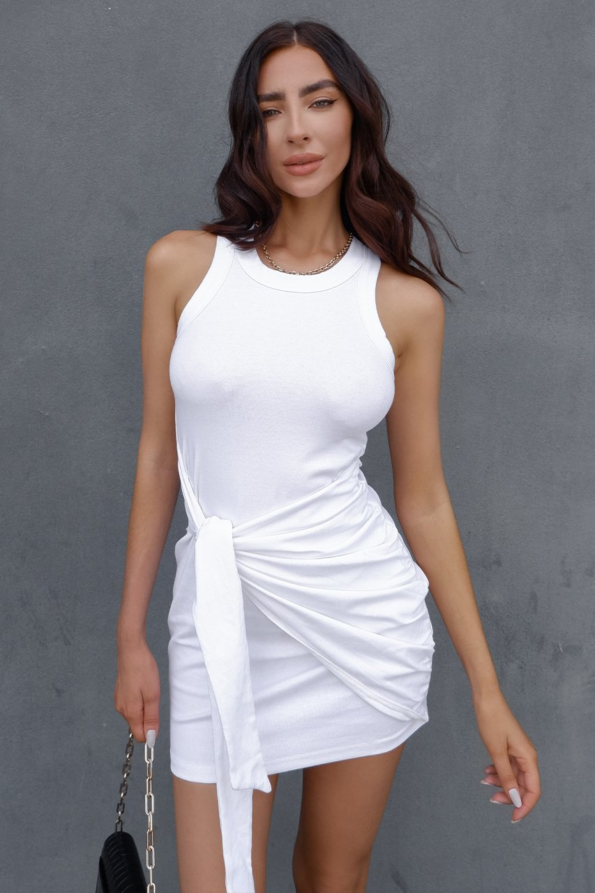 Tau Tie Dress - White