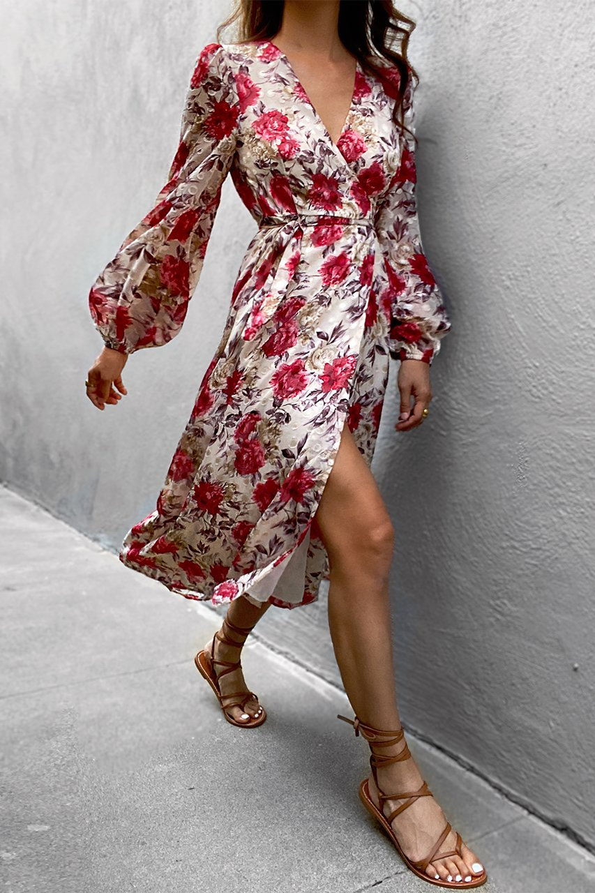 Florence Wrap Dress - Berry Floral