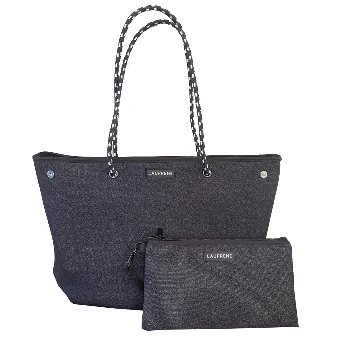Iconic Black Denim Zipped Neoprene Tote