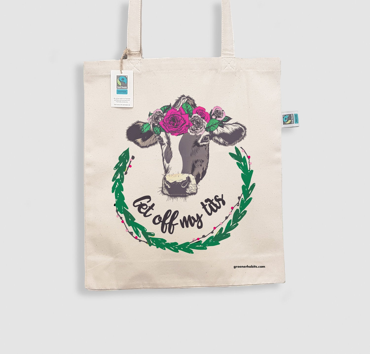 "Organic & Fairtrade Luxury Shopper Bag - ""Get Off My Tits"""