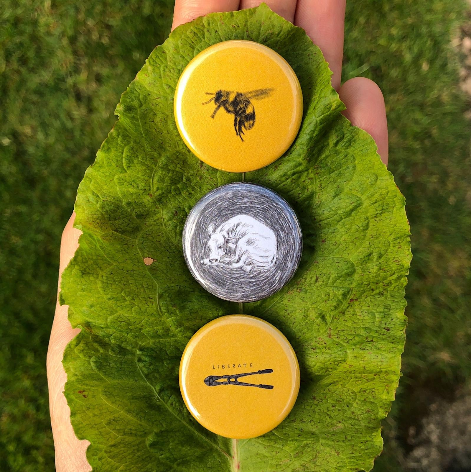 Tally's Art Vegan Badges- set of 3 (Liberate)