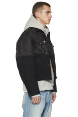 FILLED DENIM COMBO JACKET - BLACK