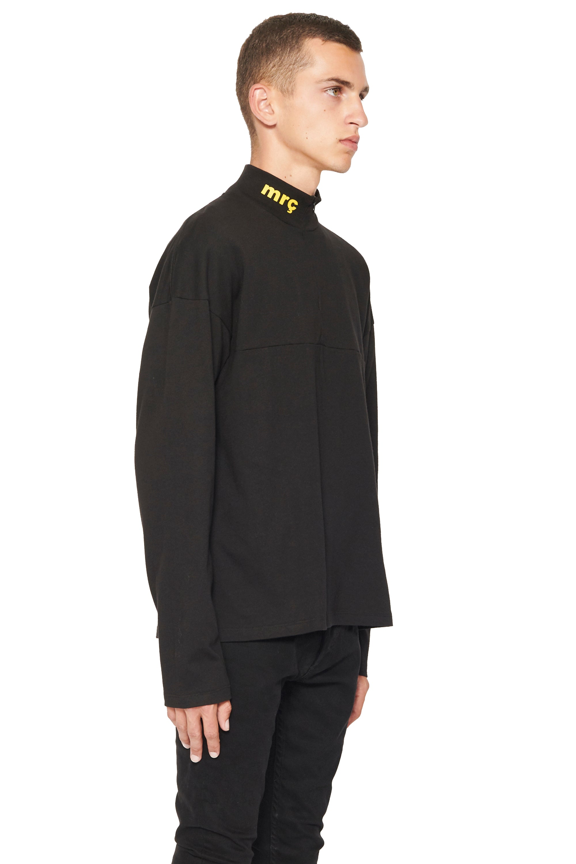 MOCK NECK LONG SLEEVE  T SHIRT - YELLOW