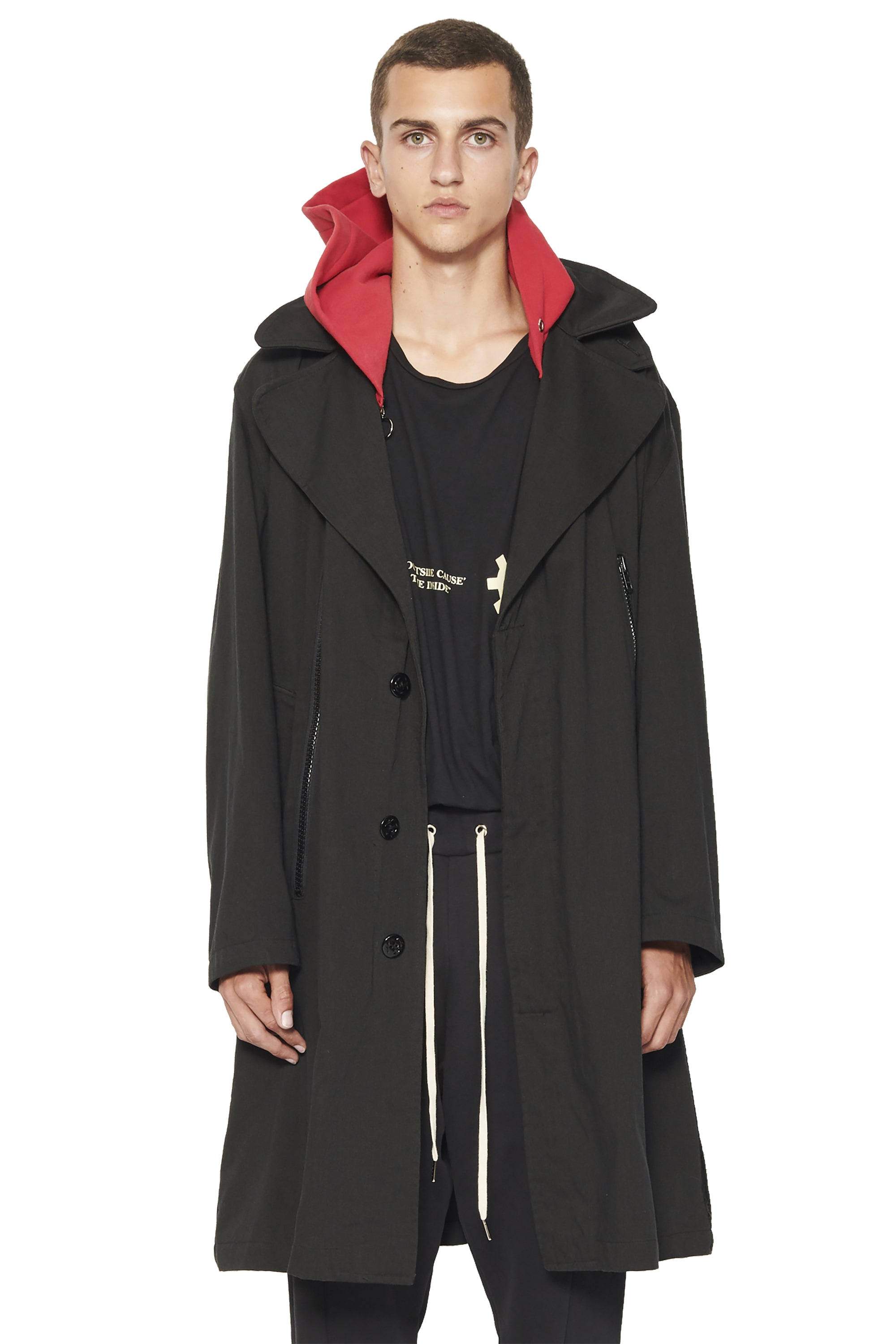 TRENCH WITH HOODIE - BLACK X  RED