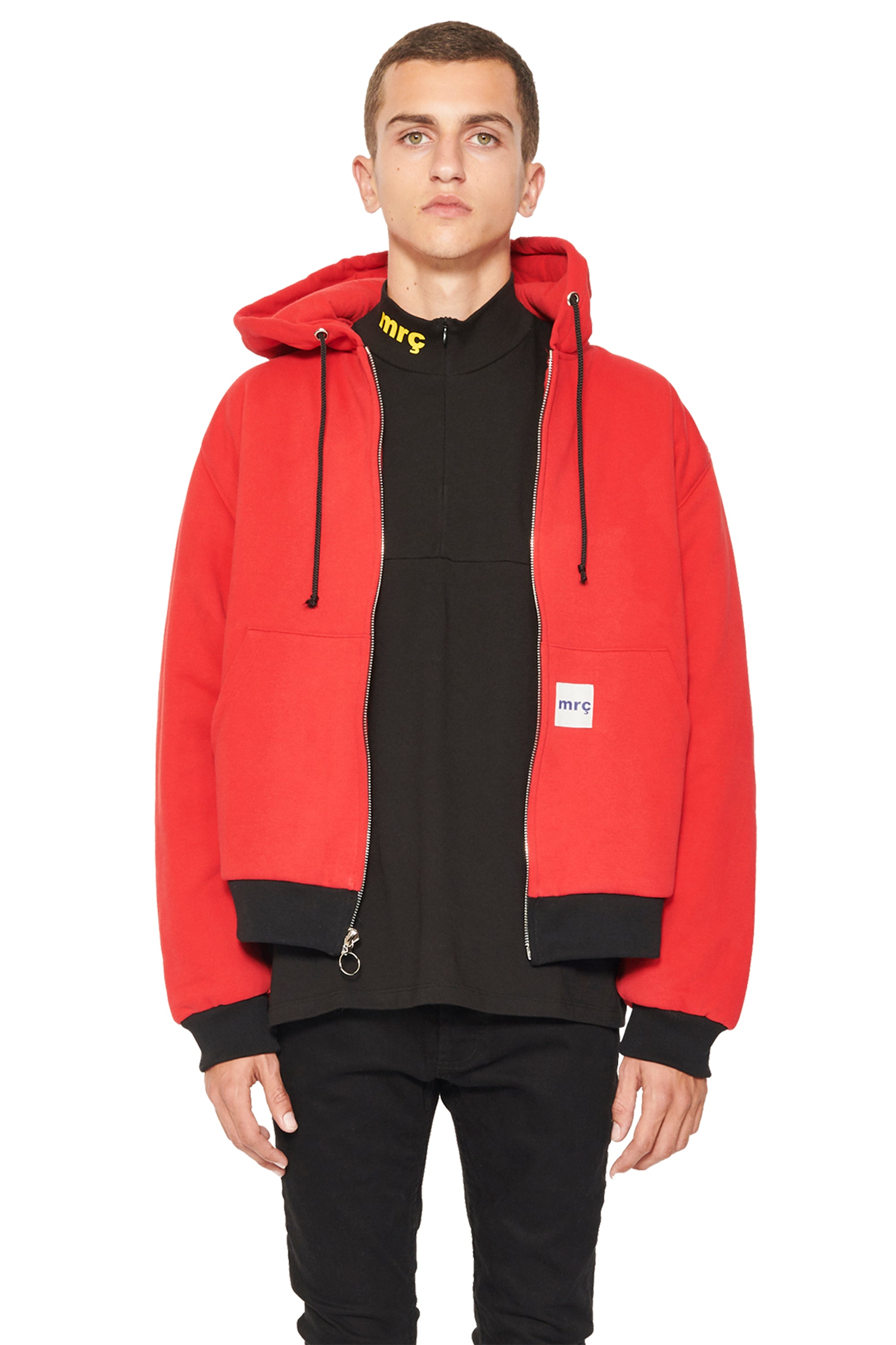 PUFFY WORKWEAR ZIP UP HOODIE - RED/BLACK