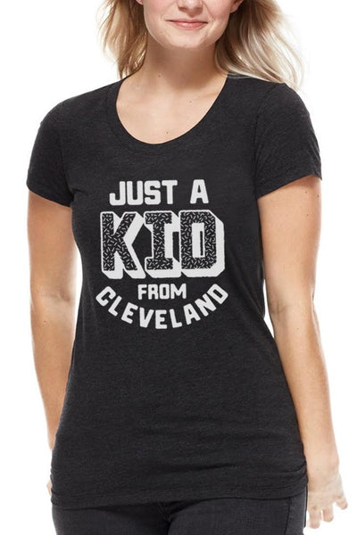 Just A Kid From Cleveland - Womens Crew - Black & White