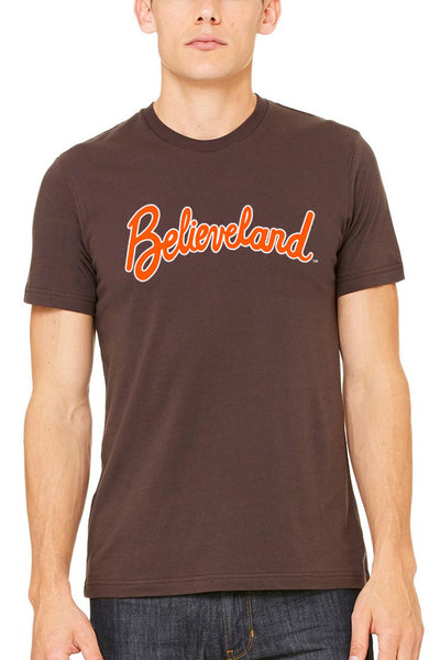 Believeland Script Brown/Orange - Unisex Crew - CLE Clothing Co.