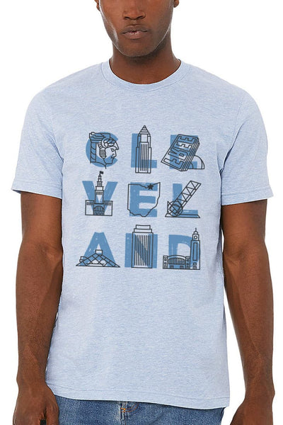 CLE VEL AND Landmarks - Unisex Crew - Prism Blue