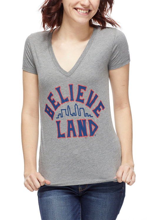 Believeland - Navy/Red - Womens V-Neck - CLE Clothing Co.