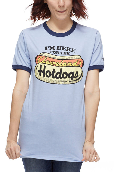 Here For The Cleveland Hotdogs - Navy/Red - Unisex Ringer Crew - CLE Clothing Co.